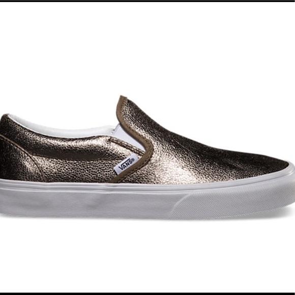 9089820f93 Vans unisex classic slip-on in metallic bronze. M 5a8080a5daa8f6f9b1b3a4bb